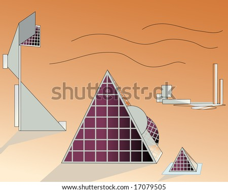 vector illustration of solar power plant - stock vector