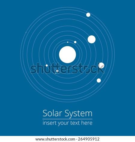 Vector illustration of solar system, design elements, blue background, EPS 8 - stock vector