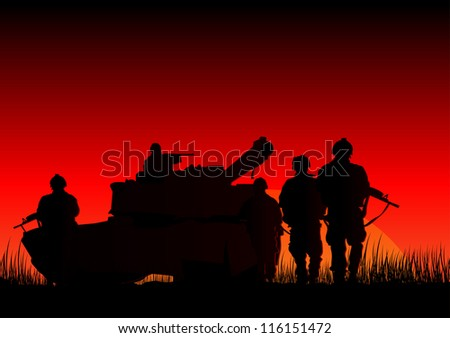 Vector illustration of soldiers and a tank - stock vector