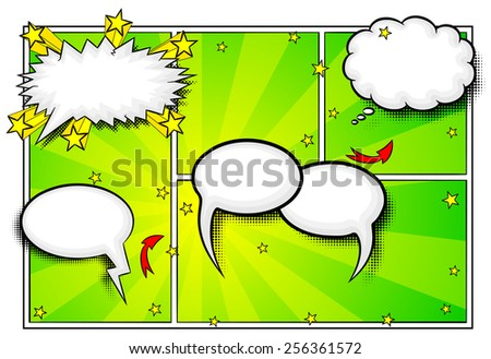 vector illustration of some comic frames as background with speech bubbles - stock vector