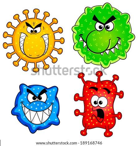 vector illustration of some wild cartoon viruses - stock vector