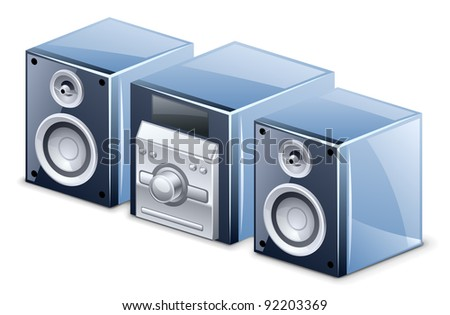 Vector illustration of sound system on white background - stock vector