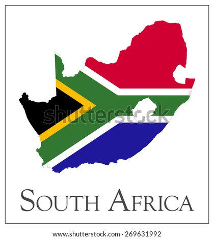 Vector illustration of South Africa flag map. Used transparency.