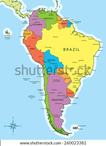 Vector illustration of South America map with countries in different colors. Each country has its capital and major cities. Global colors used. - stock vector