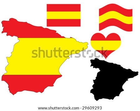 vector illustration of Spain map with flag and heart in national colors