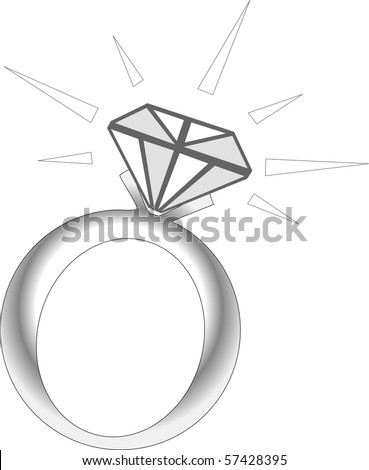 Vector Illustration of Sparkle Diamond Ring. - stock vector