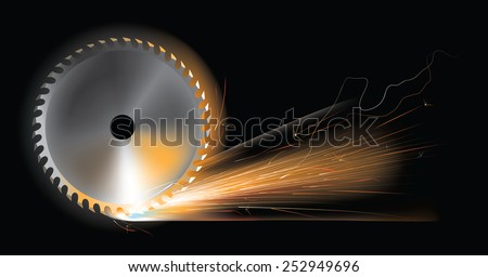 Vector illustration of sparks from rotating circular saw disc - stock vector