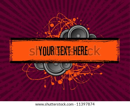 vector illustration of speakers set behind a grunge text banner - stock vector