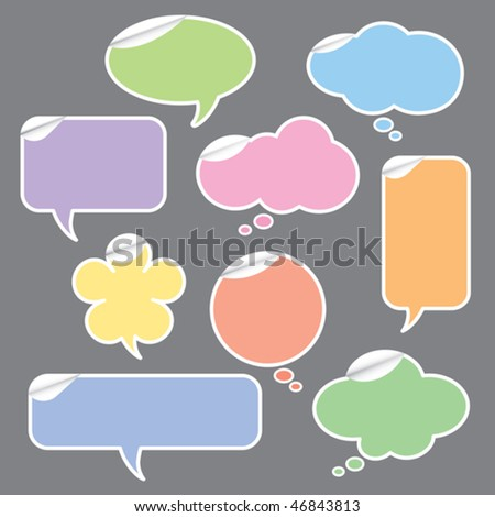 Vector illustration of speech bubble and thought bubbles stickers.