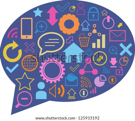 Vector illustration of speech bubble with communication and computer related icons inside. - stock vector