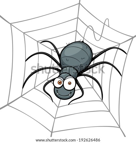 Vector illustration of Spider in a Web - stock vector