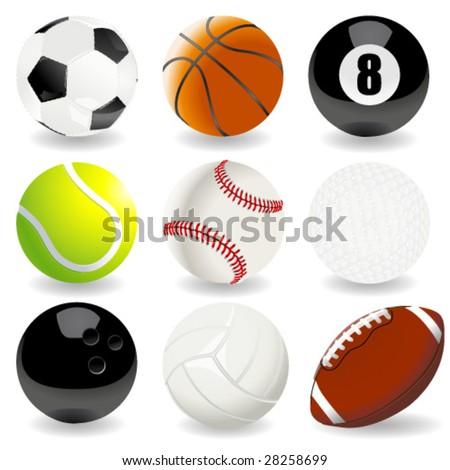 Vector illustration of sport balls - stock vector