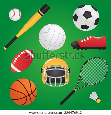 Vector illustration of sport items set - stock vector