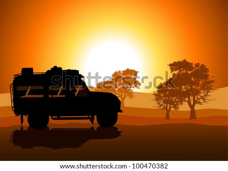 Vector illustration of sport utility vehicle (SUV) on off road - stock vector