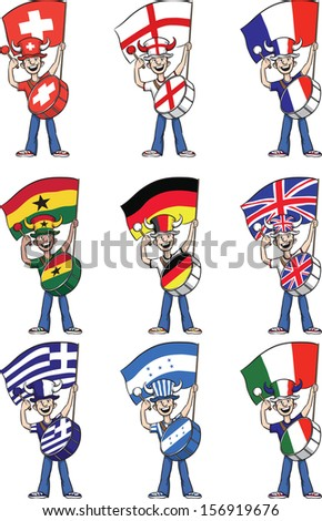 Vector illustration of sports fans holding flags and beating on drums. Easy-edit layered vector EPS10 file scalable to any size without quality loss. High resolution raster JPG file is included.  - stock vector