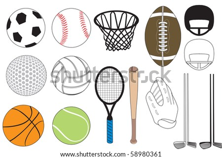 Vector Illustration of 15 sports icons isolated. No gradients were used. Available in other versions. - stock vector