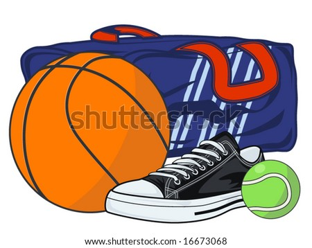 vector illustration of sports related supplies - stock vector