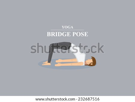 Vector illustration of sporty women doing back bend on the floor and balancing on foot and shoulders in yoga bridge pose isolated on plain grey background - stock vector