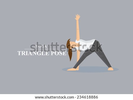 Vector illustration of sporty women in doing side stretch in yoga triangle pose isolated on plain grey background. - stock vector