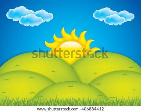 Vector illustration of spring landscape - stock vector