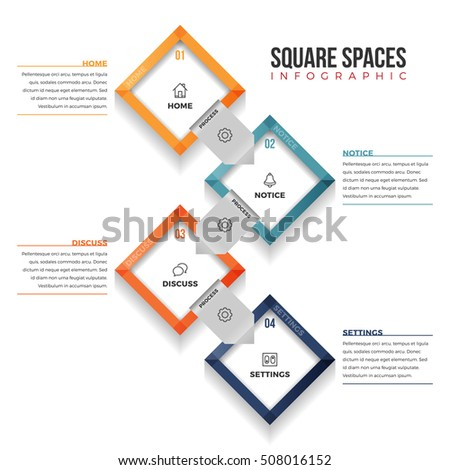 Vector illustration of square spaces infographic design element.