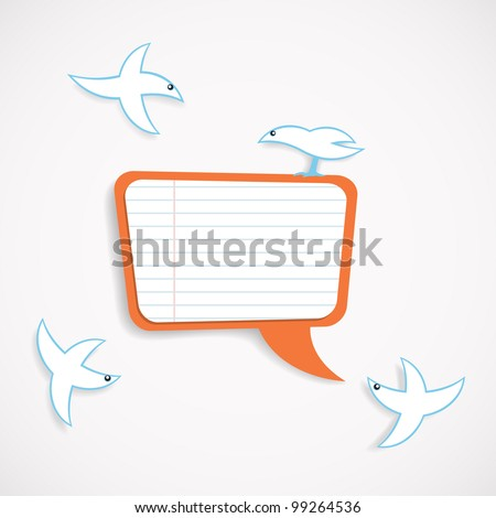 Vector illustration of square speech bubble and birds