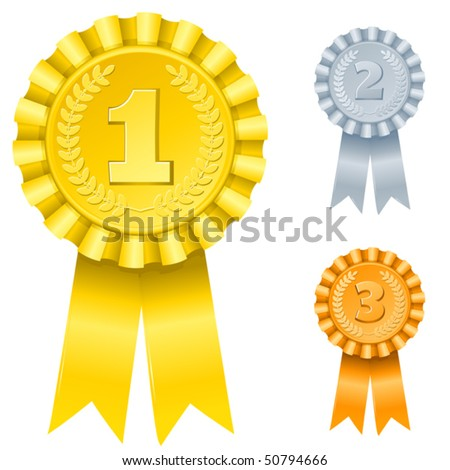 vector illustration of 1st; 2nd; 3rd awards (only gradients) - stock vector