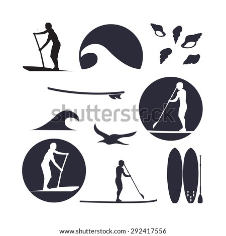 Vector illustration of stand up paddling silhouette icon set in flat design style. Template for your design, article or print  - stock vector