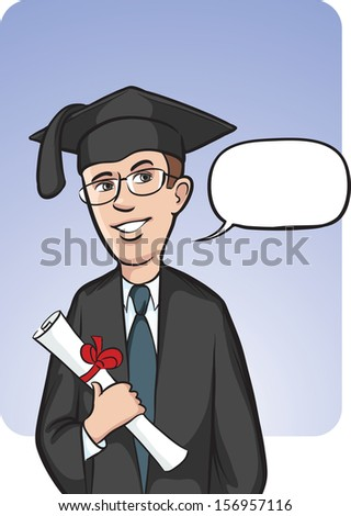 Vector illustration of standing smiling graduate with speech balloon. Easy-edit layered vector EPS10 file scalable to any size without quality loss. High resolution raster JPG file is included. - stock vector