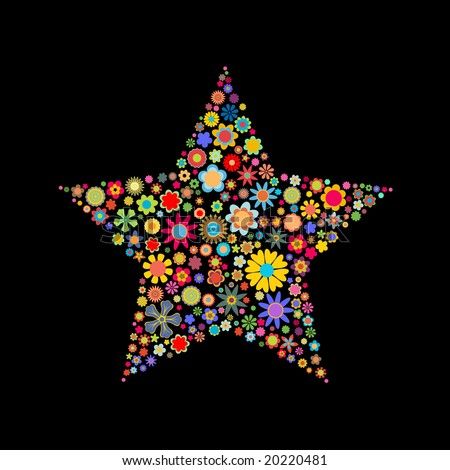 Vector illustration of star shape made up a lot of  multicolored small flowers on the black background