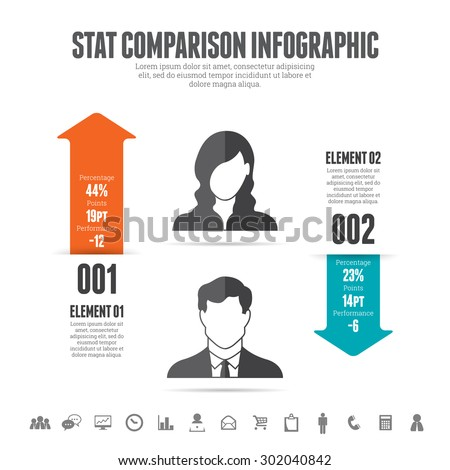 Vector illustration of statistic comparison infographic design element. - stock vector
