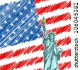 vector illustration of Statue of Liberty on American Flag Backdrop - stock photo