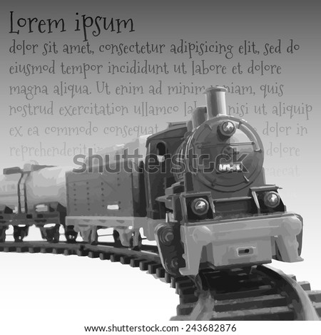 Vector Illustration Of Steam Locomotive and text - stock vector