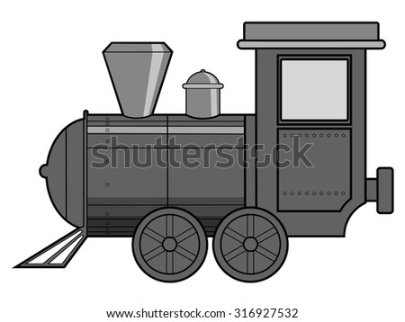 vector illustration of steam train, vintage transportation - stock vector