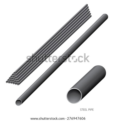 Vector illustration of steel construction isolated (Steel Pipe) on white background. - stock vector