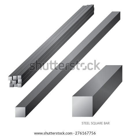 Vector illustration of steel construction isolated (Steel Square Bar) on white background. - stock vector
