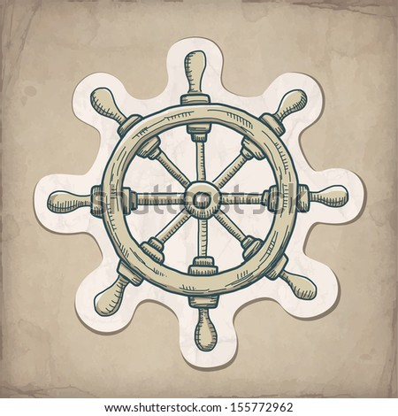 Vector illustration of steering wheel on the old paper  - stock vector