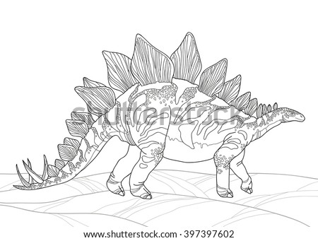 Vector illustration of Stegosaurus armatus or covered lizard isolated on white background. Series of prehistoric dinosaurs. Fossil animals and reptiles in contour style. - stock vector