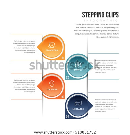 Vector illustration of stepping clips infographic design element.