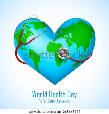 vector illustration of stethoscope around hearth shaped world - stock vector