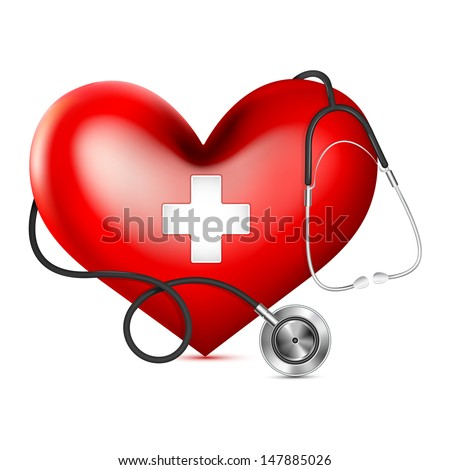 vector illustration of stethoscope wrapping heart against white background - stock vector