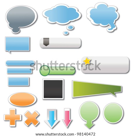 vector illustration of stickers and banners - stock vector