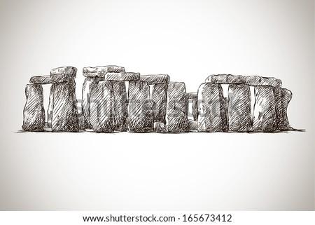 vector illustration of stonehenge against white background - stock vector