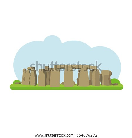 Vector illustration of Stonehenge in flat style and isolated on white background  - stock vector