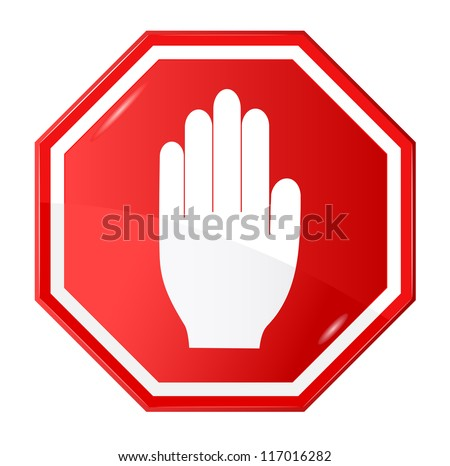 Vector illustration of stop signal sign - stock vector