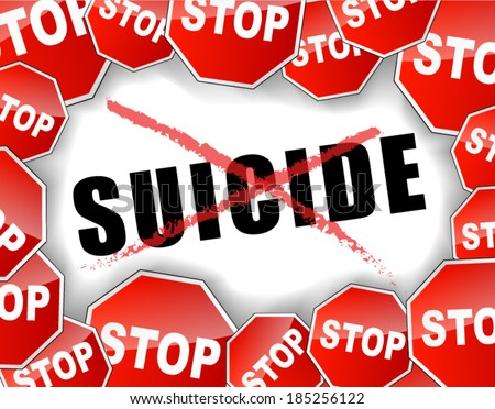 Vector illustration of stop suicide concept background - stock vector