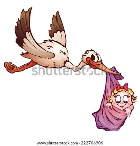 Vector illustration of stork and neewborn baby. - stock vector