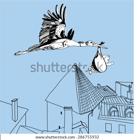 Vector Illustration of stork over the city with a baby - stock vector