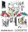 Vector illustration of street cafe and diners, Monchique, Portugal. - stock vector
