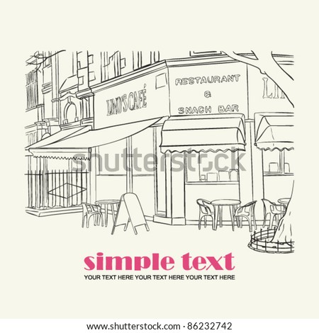 Vector illustration of street-cafe in sketch style. Place for your text.